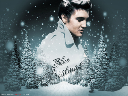 elvis blue - xmas, christmas, elvis, blue