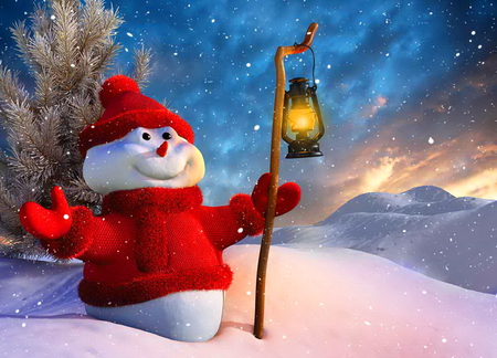 I luv winter - trees, smile, snow, winter, red outfit, lantern, snowman