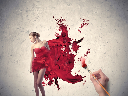 Red Painting - brush, art, pretty, beauty, sexy, paint, girl, fashion, red, style, pose, color, painting, hd, hot, blonde, dress