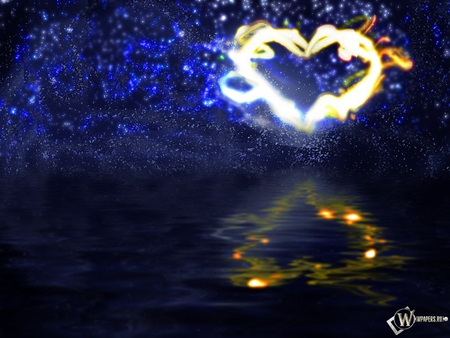lightning heart  - fireworks, water, night sky, heart