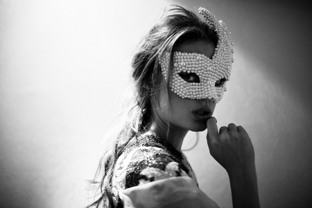 MASQUERADE - photography, bw, woman, mask, hidden, portrait, beauty, blonde