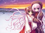 Two Cute Anime Girls Standing in the Snow