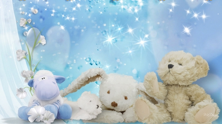 Soft and Fluffy - teddy bear, blue, soft, rabbit, toys, bunny, firefox persona, flowers, curtain, hippo, baby, plush