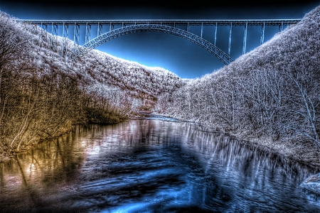 West Virginia in Winter - cold, shimmer, beautiful, new river gorge, bridge, blue, ice