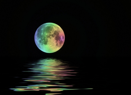 RAINBOW REFLECTIONS - rainbow, colorful, reflections, moon