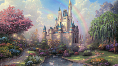 Fairytale Castle - garden, beautiful, trees, painting, lanterns, swans, magical, deer, rainbow, castle, fairytale