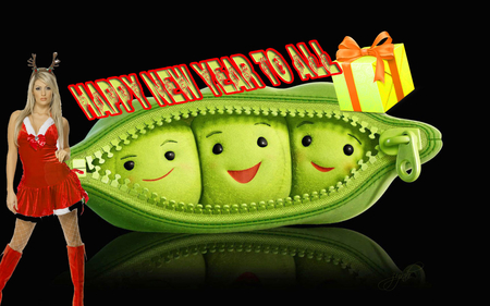 ✮ ☃ ✯ Peas_-happy-new-year ✌❤ - green, peas, new year, 2012