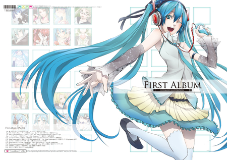 Hatsune Miku - blue eyes, hatsune miku, nitto, pixiv id 355451, thighhighs, aqua hair, nail polish, black rock shooter the game, anime, detached sleeves, flame, twintails, legwear, wink, aqua eyes, miku, headphones, long hair, icons, skirt, black rock shooter, black hair, hatsune, vocaloid