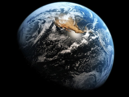 beautiful world - universe, beauty, scifi, water, earth, round, world, space, planet, land