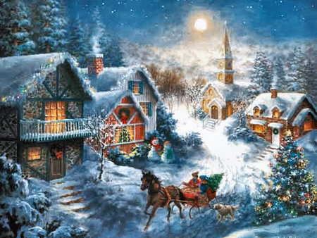 One horse open sleigh f cmp winter nature background - Christmas nature wallpaper ...