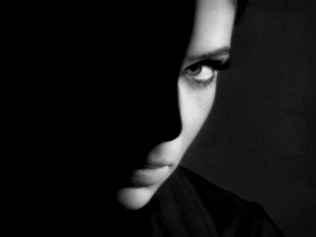 Black & White - beautiful, mysterious, face, black and white, beauty, special, photography, woman, eyes, photoshop, shadows, lips