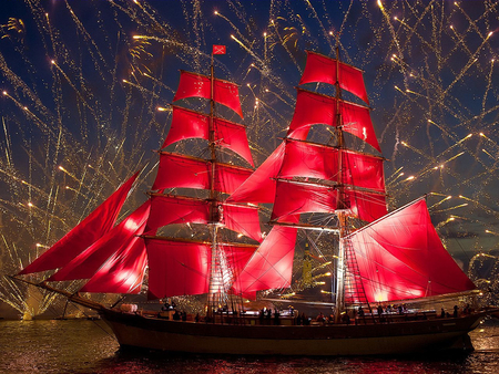 tall ship - sail, ship, red, boat