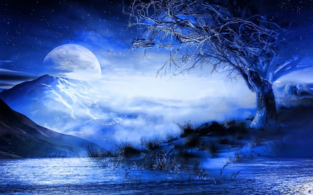 Blue dream - water, moon, blue, mountain, tree