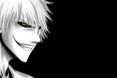 Hollow Ichigo - ichigo, black bacground, hollow ichigo, bleach, head, face, white hair, anime, yellow eyes, smile, ichigo kurosaki, kurosaki ichigo, gold eyes