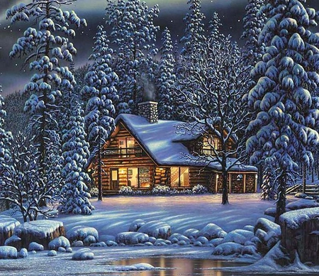 Winter cottage - painting, art, tree, ice, winter, christmas, cottage
