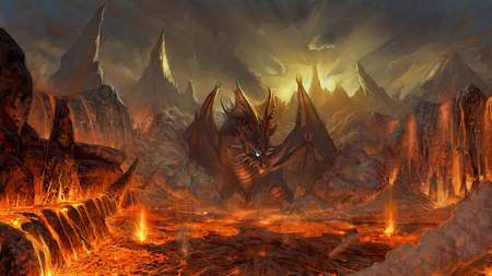 Dragons Nest - lava, glowing, red, mountain, fire, dragon