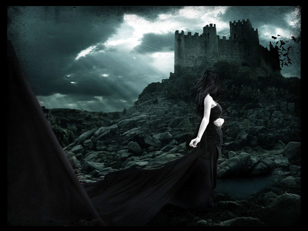 A pretty goth girl - female, girl, gothic, beautiful, pretty, castle, sexy