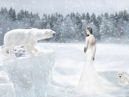Arctic Queen - cg girl, bears, queen of the winter, season