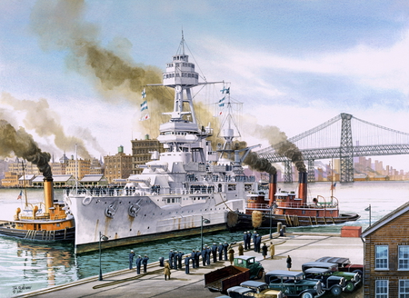 USS Texas - new, battleship, uss, york, class, painting, art, texas, battle, boat, ship, drawing
