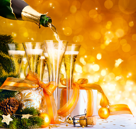 Happy New Year!!! - decoration, christmas ball, balls, wine, orange, ribbon, christmas gift, pretty, yellow, party, champagne, holiday, happy new year, new year, merry christmas, christmas, ball, star, glasses, beautiful, beauty, magic, xmas, stars, magic christmas, bottle, glass, colorful, colors, lovely, decorations, happy holidays, photography, 2012, christmas decoration, christmas balls