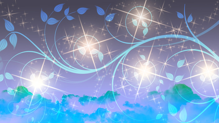 Stars - leaves, green clouds, glow, stars, purple sky, blue vines, beautiful, sky, blue clouds, sparkle, vines