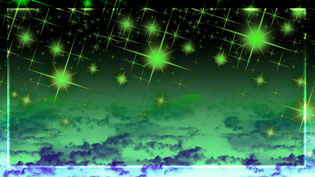 green lights - green, sparkle, sky, dark, purple, glowing, clouds, green stars, border, space