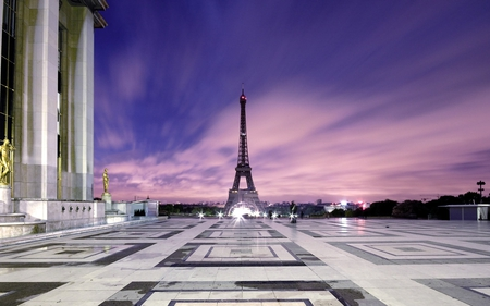 Eiffel Tower - paris, beautiful, tower, sky, monuments, eiffel, eiffel tower, architecture, france, clouds, buildings, nature