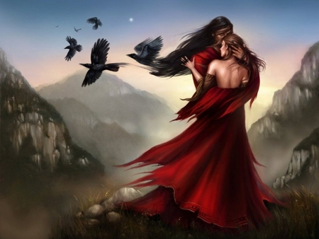 Fantasy Love - wallpaper, love, fantasy, women