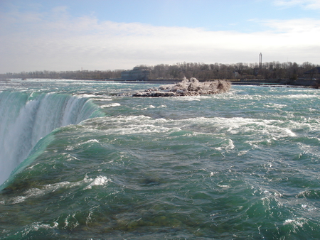 Niagara Falls, Ontario Canada 01  - green, niagara falls, trees, waterfalls, sky, blue, water, photography, clouds, white, nature