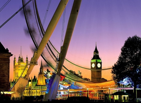 London Eye - england, big ben, uk, wall, night, photo, picture, london, sky, lights, photograph, wallpaper, image, europe, london eye, pic, city