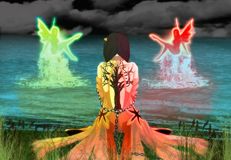 Pondrance - wings, yellow glow, glow, orange, reflection, tree, red glow, shading, water, back, reeds, fairys, grass, red, fantasy, braids, green, splash, chains, field, on knees, open back, shore, waves, yello, black sky, clouds, tattoo, blue glow, dress