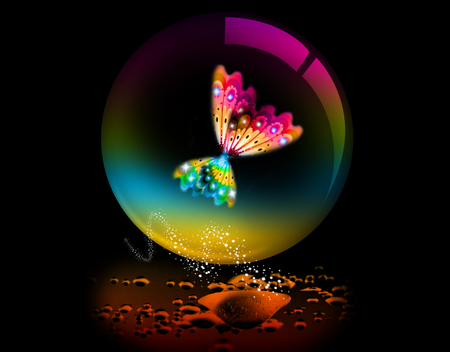 Butterfly Bubble - bubbles, butterflies, colors, sparkles, waterdrops