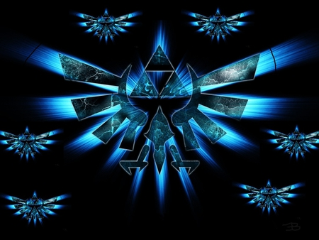 Epic blue triforces - blue, zelda, triforce, link