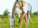 Pretty Girl and Horse