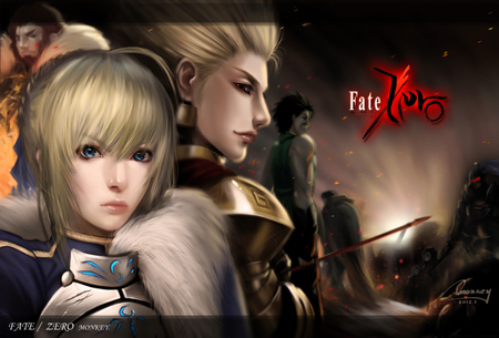 Fate/Zero - cool, male, caster, assassin, fate stay night, figher, saber lily, female, battle, fate zero, gilgamesh, team, warrior, saber, group, rider, lancer, berserker, anime girl, brave