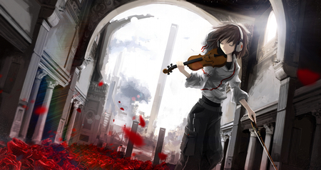 Sound of Music - flowers, petals, short hair, sound, anime, light, violin, roses, building, music