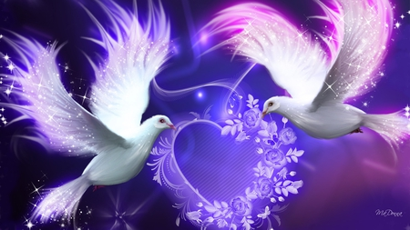 Valentine Purple Doves - lavender, peace, sparkles, bright, romantic, heart, stars, birds, purple, roses, love, sprinkles, doves