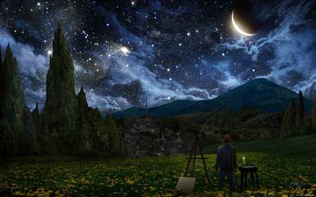 Magic World - beautiful, sky, blue, art, magic, paint, landscape, moon, world, fantasy