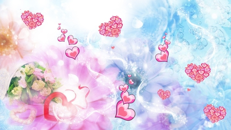 Hearts and Flowers - hearts, flowers, blue, pink, abstract, valentines day, bubbles, pastel, candy