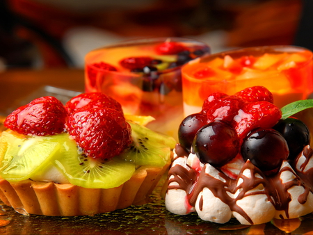 Goodies - yummy, goodies, cutrus, lemons, sweets, deliciuos, strawberries, cream, cake, fruits