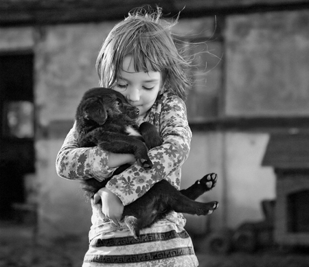 a lullaby - girl, lullaby, black and white, puppy, child