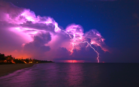 POWERFUL LIGHT - lightning, stars, beach, sky, nature