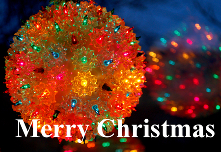 Merry Christmas - holidays, 25th, december, reflection, lighted, merry christmas, christmas, ball