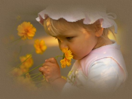 Enjoy Nature ! - girl, flowers, baby, blooms, smelling, lovely, yellow
