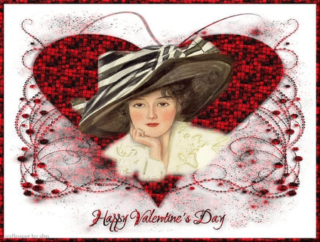 Happy Valentines Day - valentine, lady, hat, red, victorian, hearts