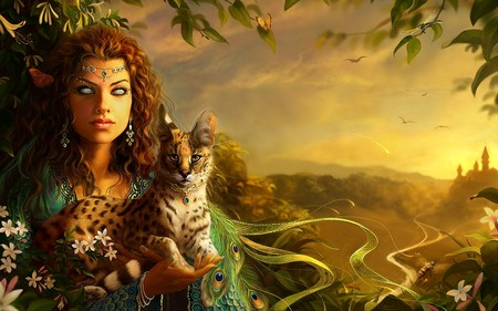 fantasy girl - abstract, face, art, girl, woman, eyes, wild, butterflies, forest, fantasy, castle, sky, roses, cat, 3d, scary, queen