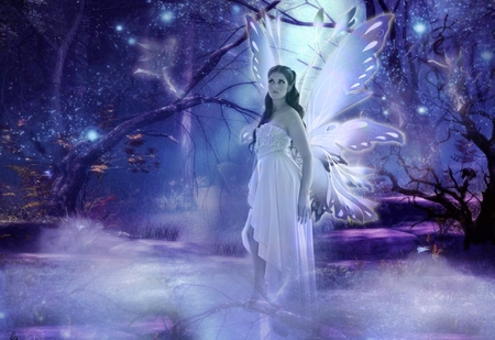 My fairy Bina - wings, face, beauty, imagination, magic, stars, night, butterfly, purple, fairy, moonlight, forest, fantasy, white dress, imagine, trees, wonderful, moon, hair, beautiful fairy