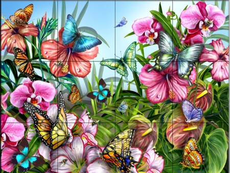 Butterfly mural butterflies animals background for Butterfly mural wallpaper