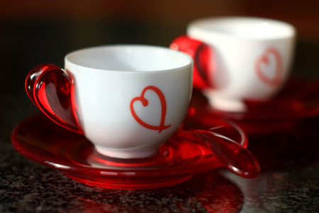 Happy Valentine's Day!!! - cups, beautiful, abstract, pretty, romantic, harmony, beauty, for you, white, love, red, valentines day, i love you, holiday, delicate, black, coffee, colors, lovely, hearts, heart, valentine, photography, drink, elegantly, romance