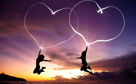 Love - hearts, sunset, guy, romantic, silhouettes, sun, together, girlfriend, boyfriend, clouds, girl, love